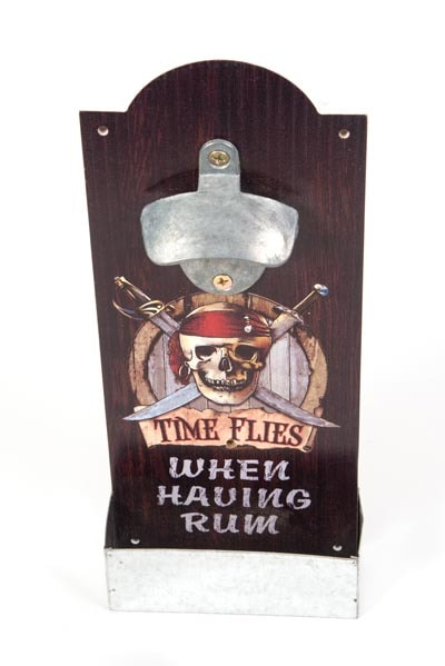 Pirate Bottle Opener With Catcher Globe Imports