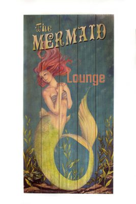 Wooden Mermaid Lounge Sign Globe Imports