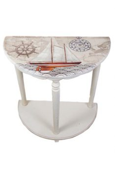 Half Round Nautical Accent Table