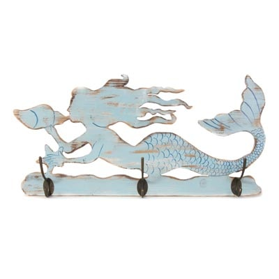 Wooden Wall Mermaid With Hooks