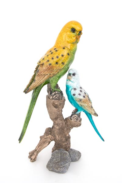 Parakeets on Branches FIGURINE