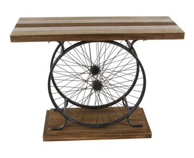 bicycle wheel console table globe imports. Black Bedroom Furniture Sets. Home Design Ideas