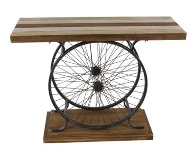 Bicycle wheel console table globe imports for Bicycle wheel table