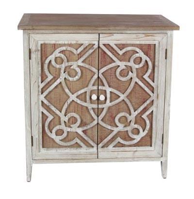 Wood Scroll Pattern Cabinet Globe Imports