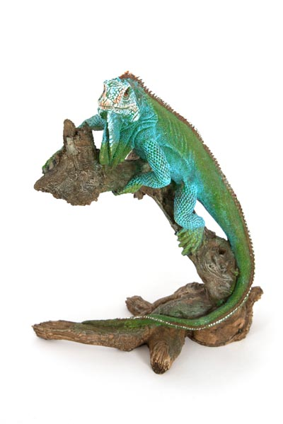Iguana Climbing On Branch Globe Imports