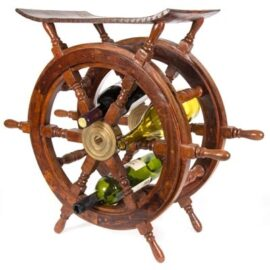 Nautical Ship's Wheel Table and Rack