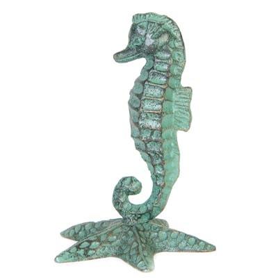 Verdigris Seahorse on Starfish FIGURINE