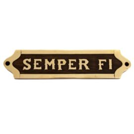 Wood and Brass Semper Fi Plaque