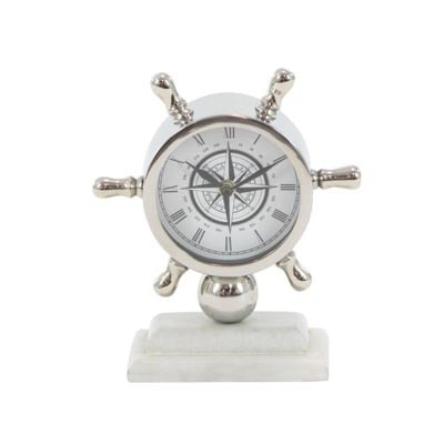 Stainless Steel Nautical Clock Globe Imports