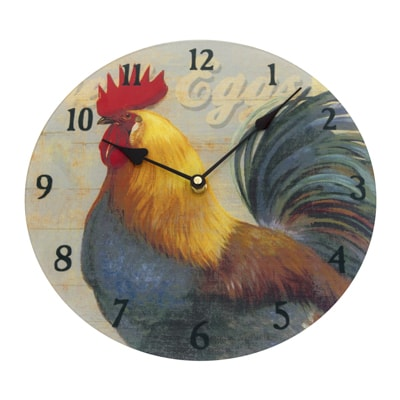 Glass Rooster Kitchen Wall Clock