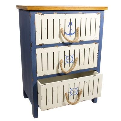 Wood Three Drawer Nautical Cabinet Globe Imports