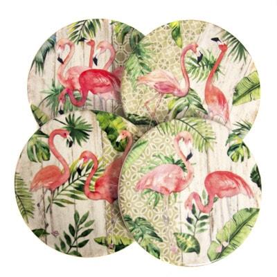 Flamingo Round Coaster Set Globe Imports